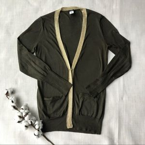 J Crew Metallic Forever Olive Green Gold Cardigan